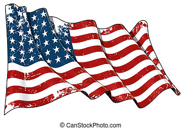 US Flag WWI-WWII 48 stars Scratched - Illustration of a...