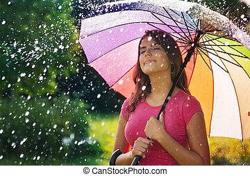女, 春, 若い, 雨, 空気, 呼吸, 新たに, の間