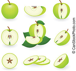 Icon Set Green Apple - Vector illustration of green apple