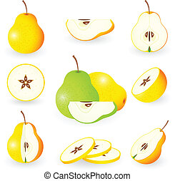 Icon Set Pear - Vector illustration of pear