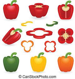 Icon Set Pepper - Vector illustration of pepper