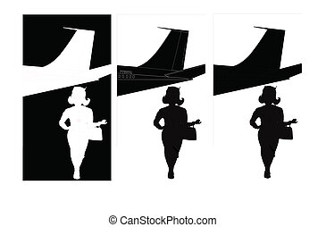 hostess from airline silhouette - airline stewardess in...