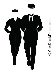 pilot and hostess in silhouette - pilot and airline hostess...