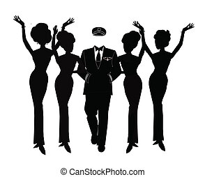 pilot with beautiful women - pilot and hostess silhouettes