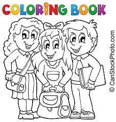 Coloring book pupil theme 1 - eps10 vector illustration