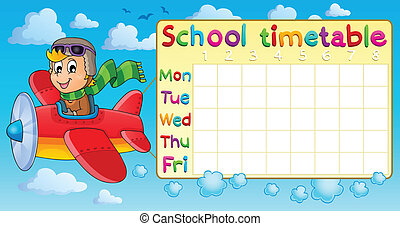 School timetable thematic image 1 - eps10 vector...