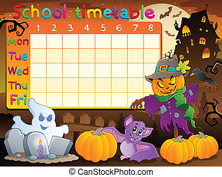 School timetable topic image 2 - eps10 vector illustration.