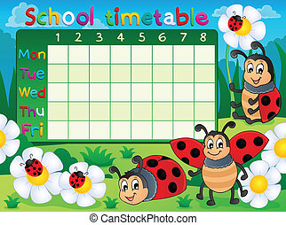 School timetable topic image 5 - eps10 vector illustration.