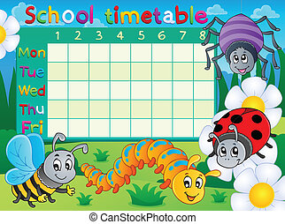 School timetable topic image 6 - eps10 vector illustration.