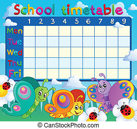 School timetable topic image 7 - eps10 vector illustration.