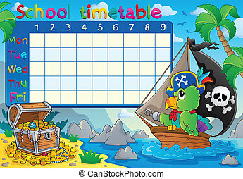 School timetable topic image 8 - eps10 vector illustration