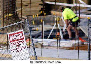 construção, local, segurança
