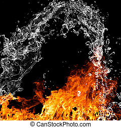 Fire flames with water splash over black background