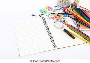 papelería, escuela, blanco, aislado, Plano de fondo