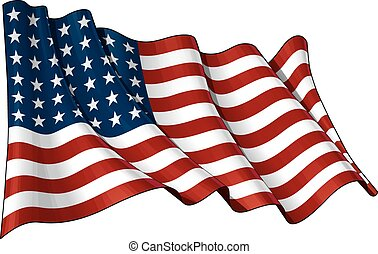 US Flag WWI-WWII (48 stars) - Illustration of a waving US 48...
