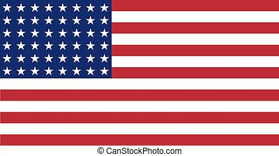 US Flag WWI-WWII 48 stars Flat - Illustration of a Flat US...