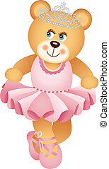 Ballerina Teddy Bear - Scalable vectorial image representing...