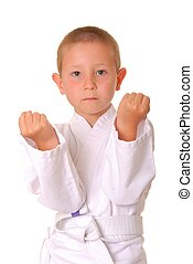 Karate Boy - Young boy practicing karate isolated on white