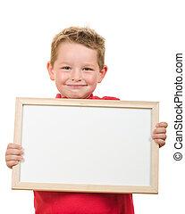 Retrato, criança, segurando, sinal