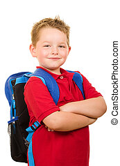 Happy student wearing backpack