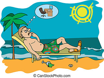 Workaholic on vacation - Man resting on the beach, thinking...