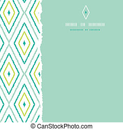 Green ikat diamonds square torn seamless patterns backgrounds