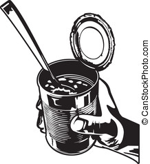 Eating Beans - Vector illustration of a hand holding a tin...