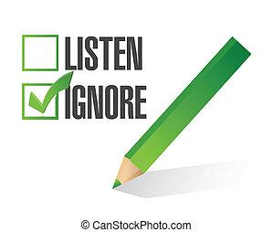 listen or ignore check box illustration