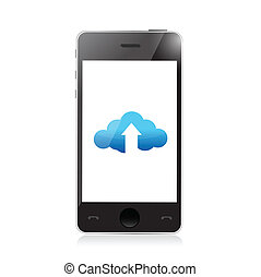 phone cloud upload and arrow illustration design over a...