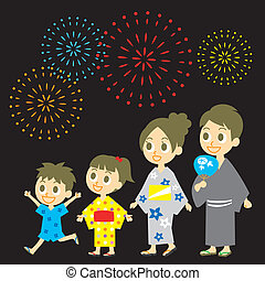 Fireworks display in Japan, Family in yukata, kimono for...