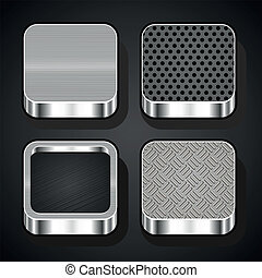Set of metal ios icons - Set of metal textures for mobile...