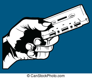 Holding a Cassette - This is a vector illustration of a hand...