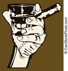 cigarro, whisky