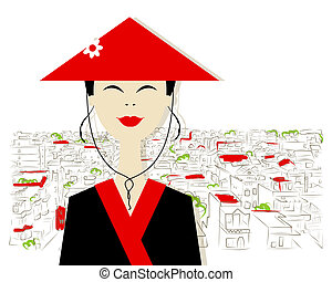 Asian woman on city background for your design
