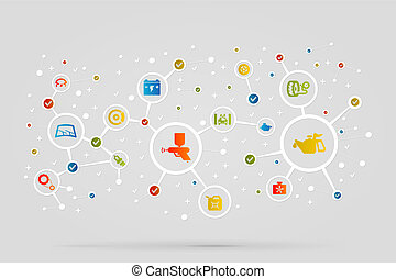 Garage icons abstract vector background