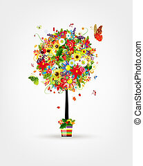Four seasons concept Art tree in pot for your design