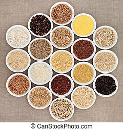Health Food - Large grain food selection in white porcelain...