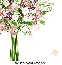 Wedding card with floral bouquet for your design