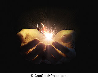 Holding lightning - Two open hands holding a glowing...
