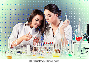 working together - Laboratory staff in the working process...