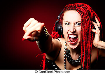 excitation - Expressive girl rock singer with great red...