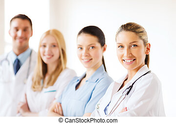 young team or group of doctors - healthcare and medical -...