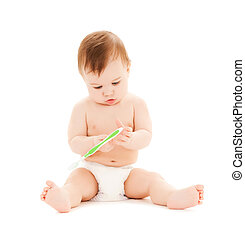 curious baby brushing teeth - bright picture of curious baby...