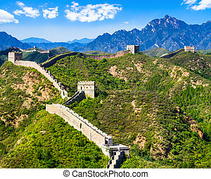 Great Wall of China on summer sunny day, Jinshanling section...