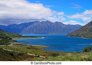 Beautiful lake Wanaka in Otago Region, South Island, New...