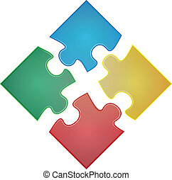 puzzle square  - illustration of four pieces of color puzzle