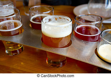 Beer Samplers at Brewery - These craft microbrew beers are...