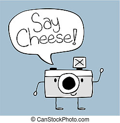 say cheese camera cartoon - cute funny camera with say...