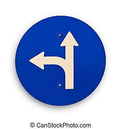 arrow blue traffic sign, clipping path. - Two ways blue...