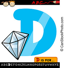 letter d with diamond cartoon illustration